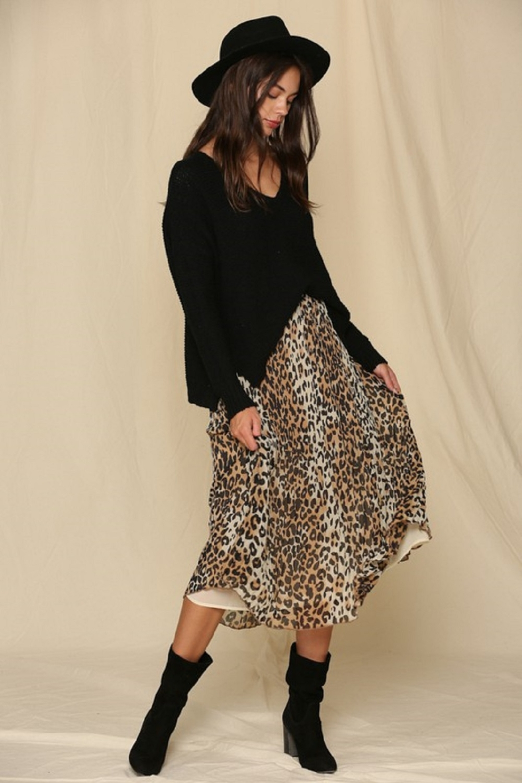 By Together  Leopard Print Pleated Midi Skirt - Main Image