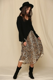 By Together  Leopard Print Pleated Midi Skirt - Front cropped