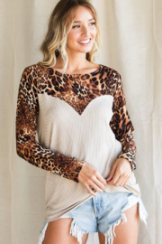 Bibi Leopard Print Ribbed Knit Top - Side cropped