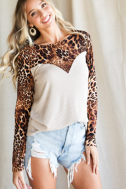 Bibi Leopard Print Ribbed Knit Top - Front cropped