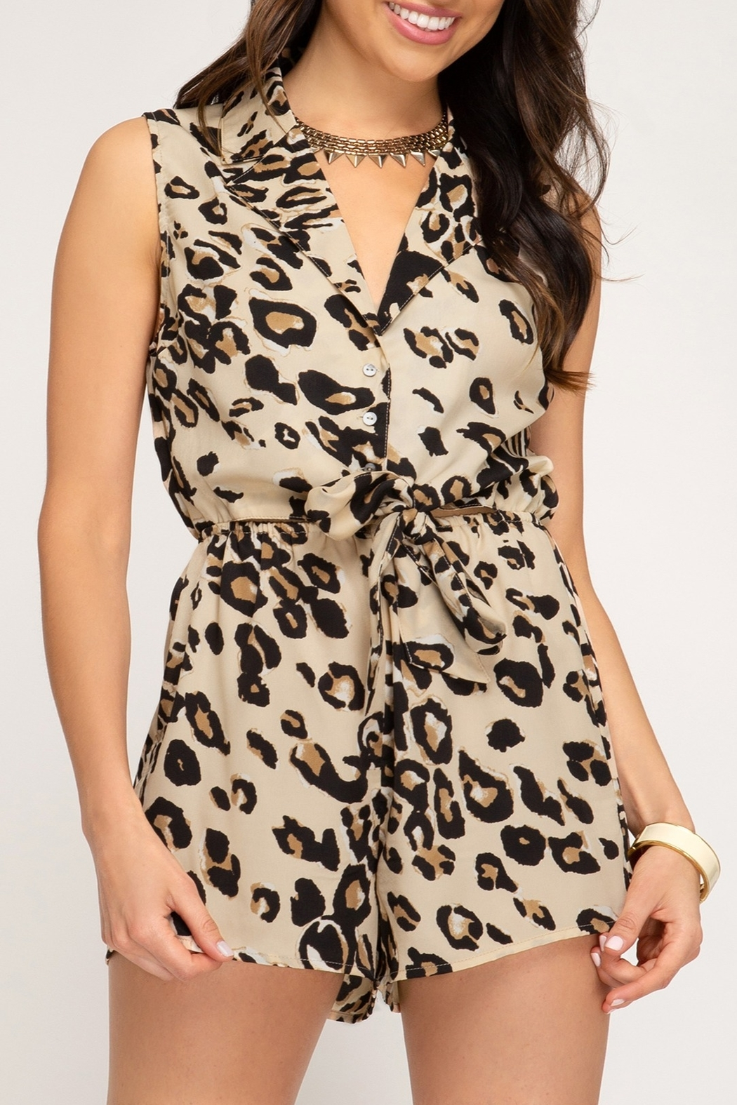 She + Sky Leopard Print Romper - Front Cropped Image