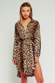 Olivaceous Leopard Print Shirt Dress - Product Mini Image