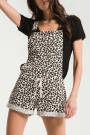 z supply Leopard Print Short Overalls - Product Mini Image