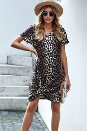 Shewin  Leopard Print Short Sleeve Side Knot T-shirt Dress - Product Mini Image