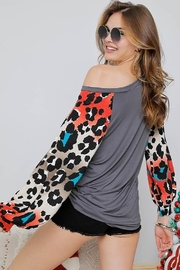 Adora Leopard Print Sleeve Top - Side cropped