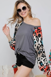 Adora Leopard Print Sleeve Top - Front cropped