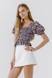 Endless Rose Leopard Print Smocked Top - Product Mini Image