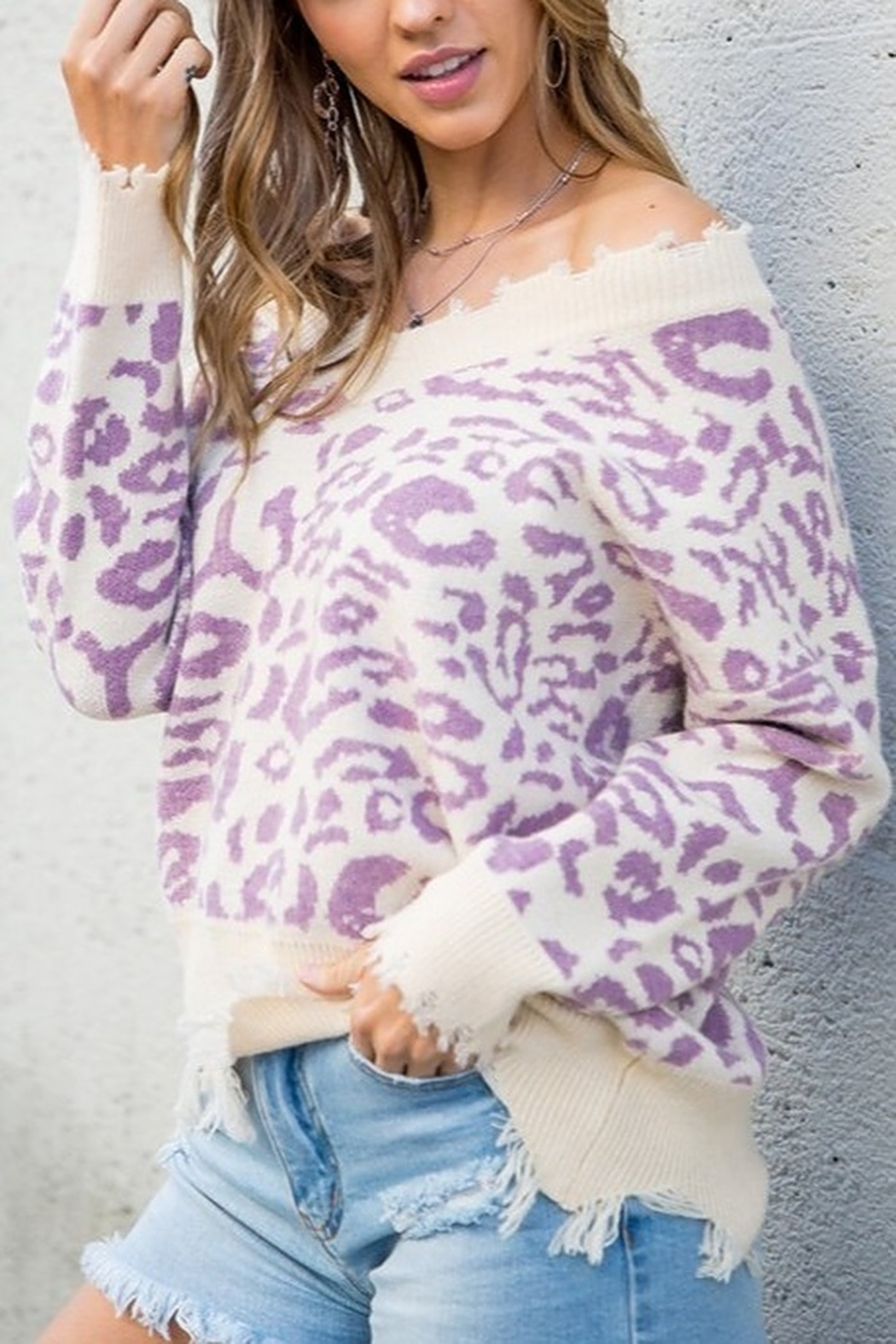 Main Strip Leopard Print Sweater - Front Cropped Image