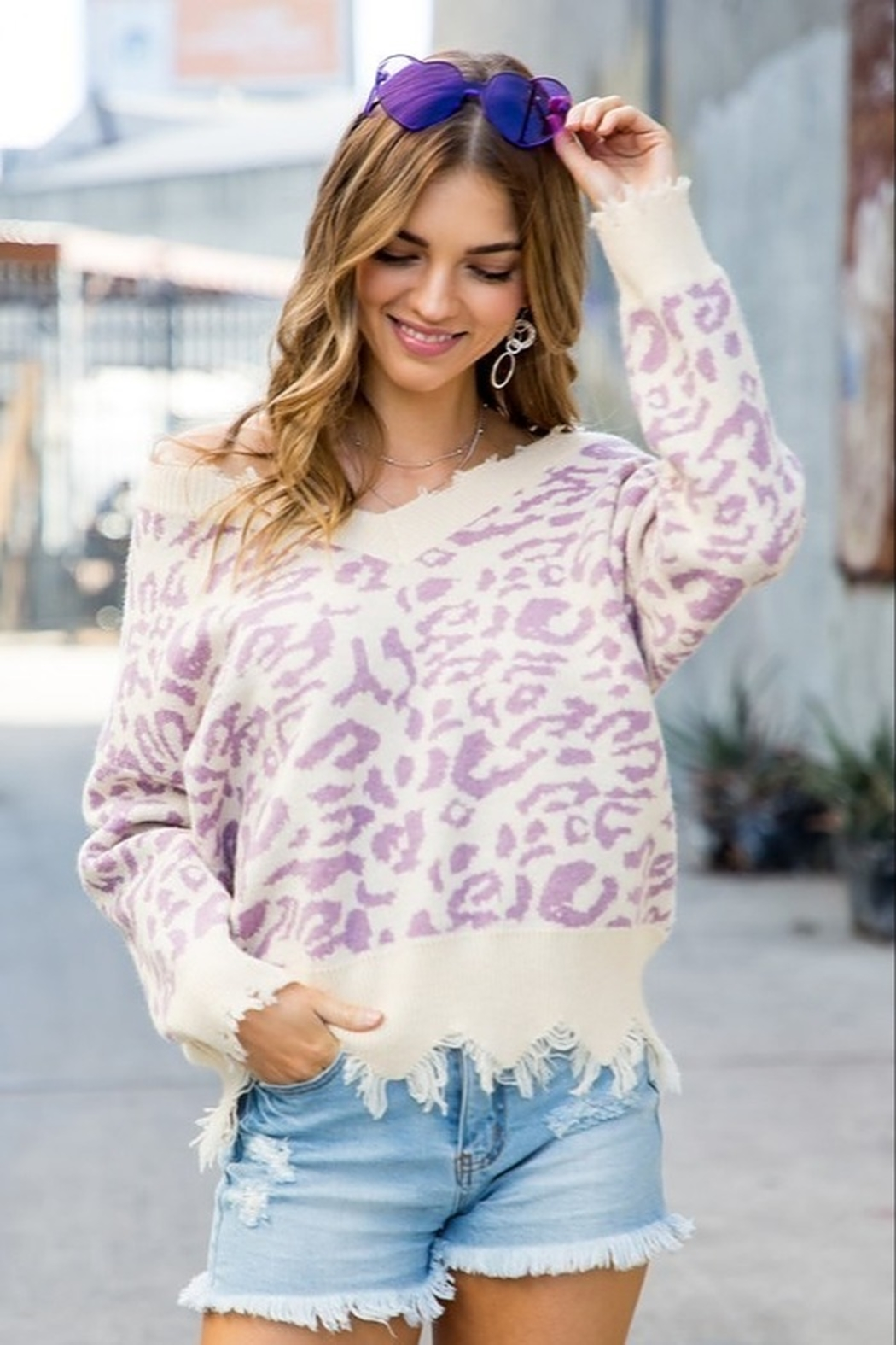 Main Strip Leopard Print Sweater - Side Cropped Image