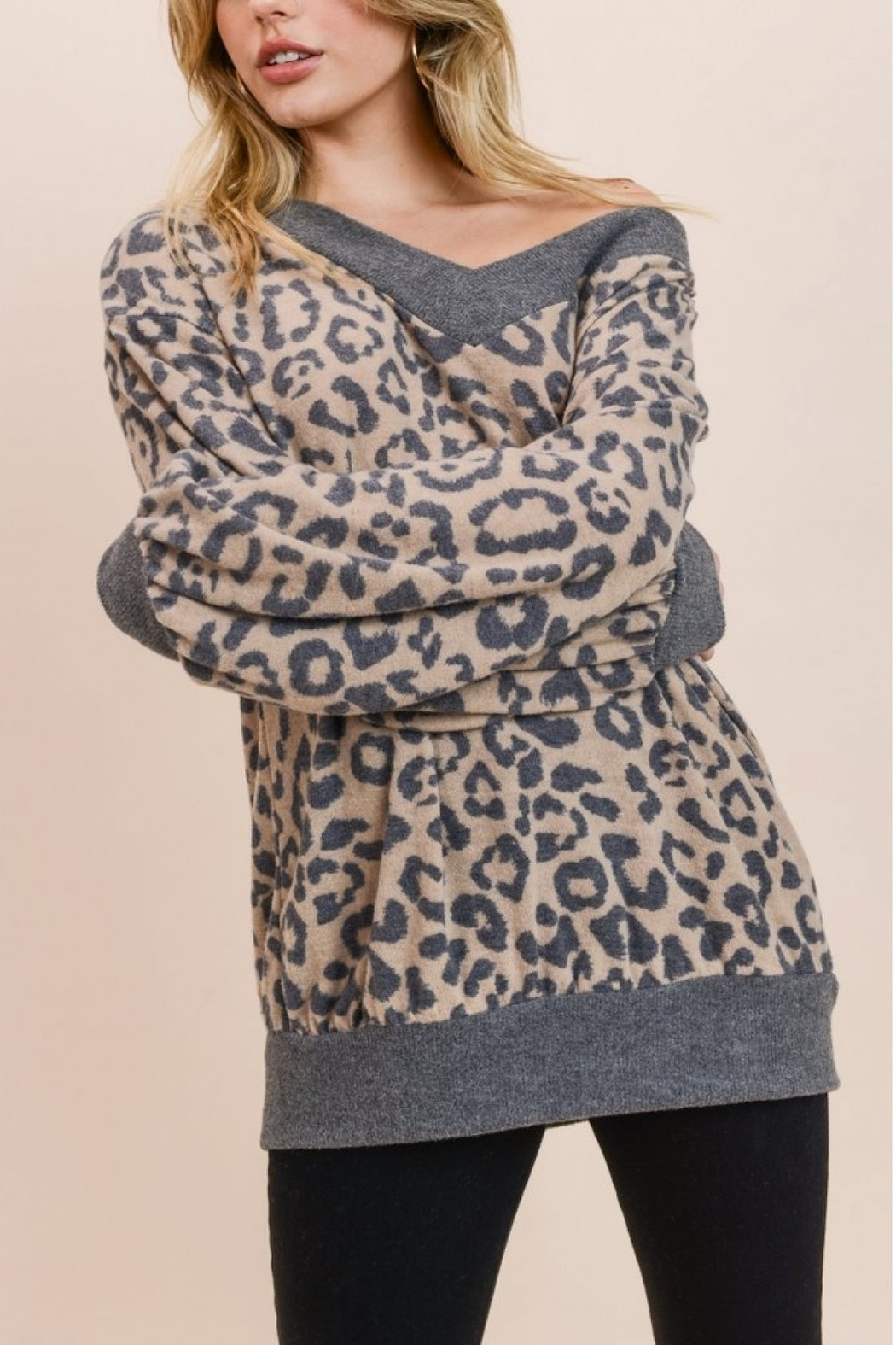 Jodifl LEOPARD PRINT SWEATER - Front Cropped Image