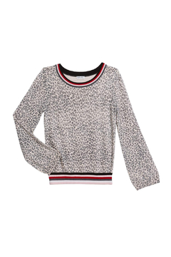 Splendid Leopard Print Sweater With Stripe - Alternate List Image