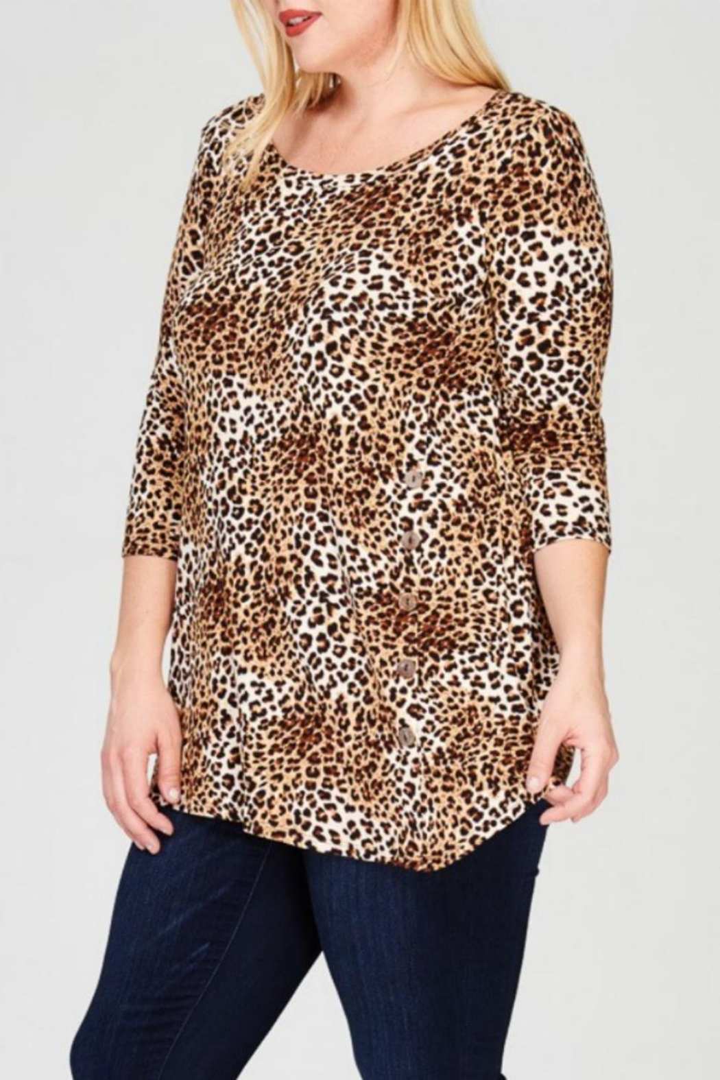 Janette Plus Leopard Print Tunic - Side Cropped Image
