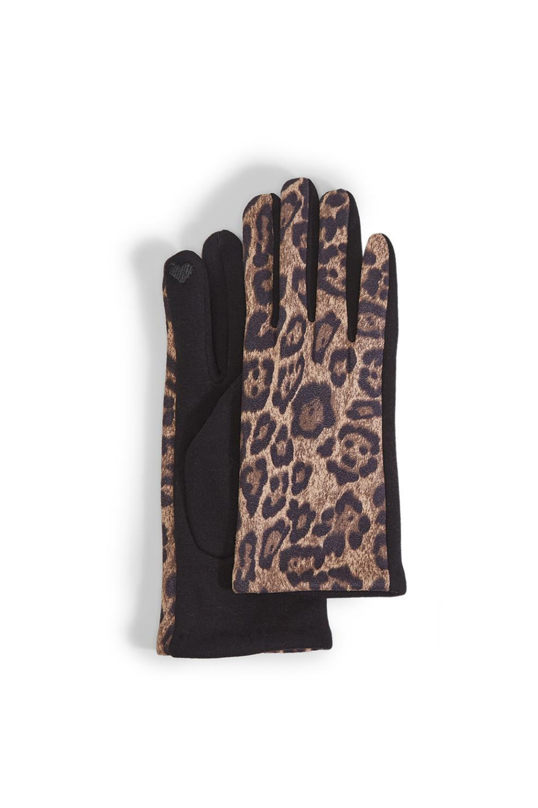 Two's Company Leopard Print Ultra Suede Gloves w Fleece Lining - Main Image