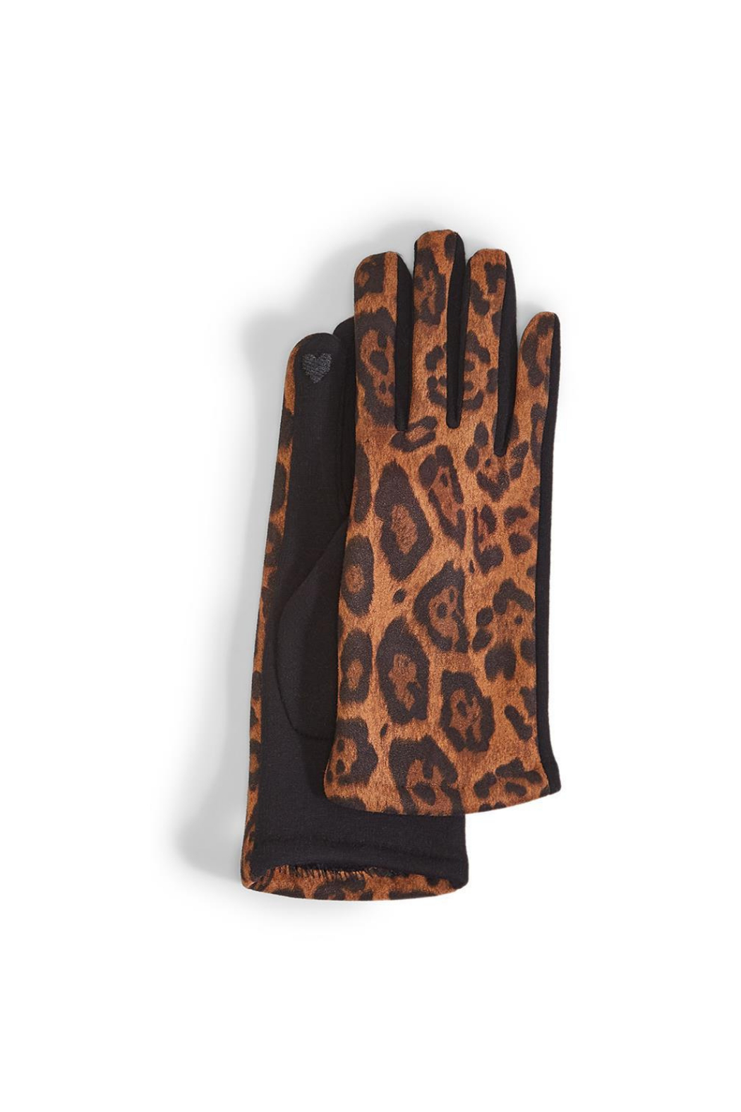 Two's Company Leopard Print Ultra Suede Gloves w Fleece Lining - Front Cropped Image