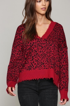 Fate Leopard Print V Neck Distressed Sweater - Product List Image