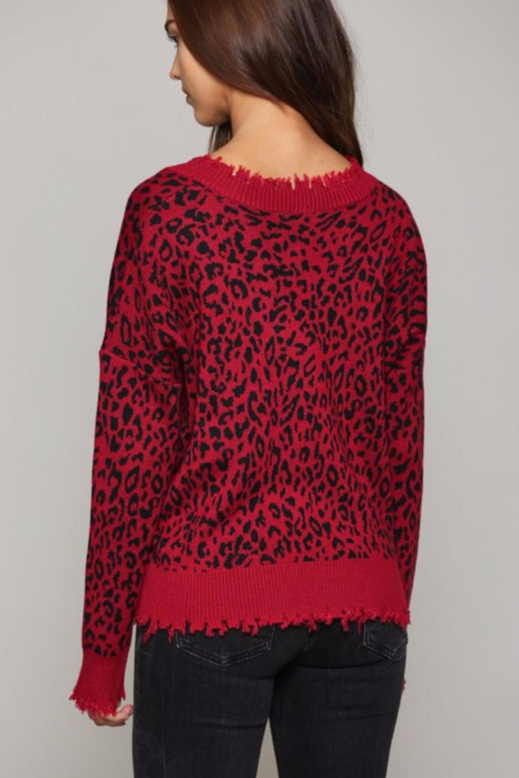 Fate Leopard Print V Neck Distressed Sweater - Side Cropped Image