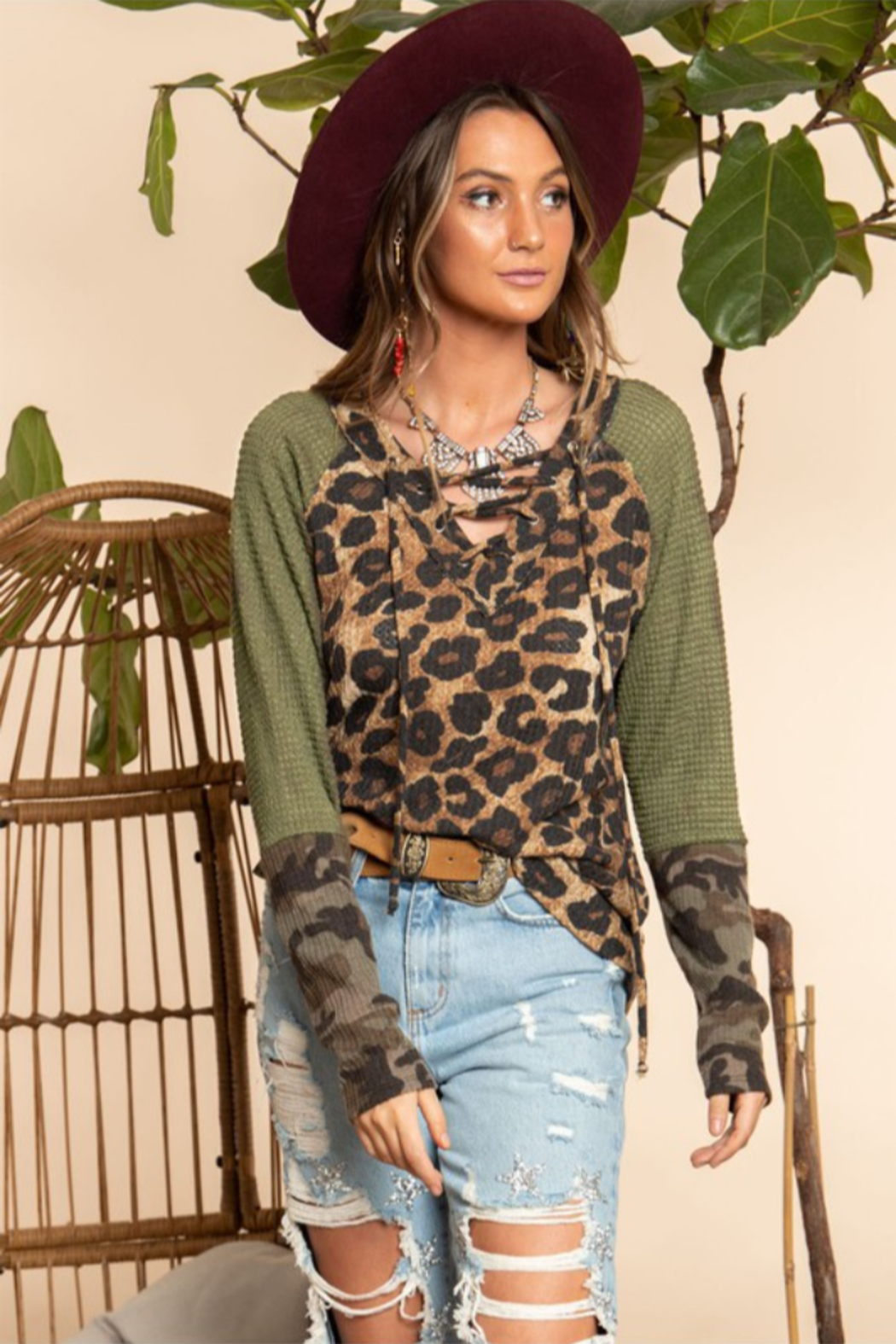 Blue Buttercup Leopard Printed Long Sleeve Top - Front Full Image