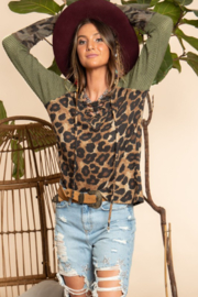 Blue Buttercup Leopard Printed Long Sleeve Top - Front cropped