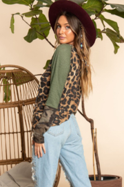 Blue Buttercup Leopard Printed Long Sleeve Top - Side cropped