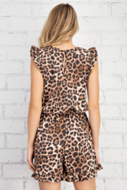 FSL Apparel Leopard Printed Ruffle Sleeve Romper - Back cropped