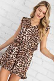 FSL Apparel Leopard Printed Ruffle Sleeve Romper - Front full body