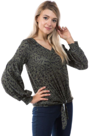 Vava Leopard Printed V Neck Top - Product Mini Image