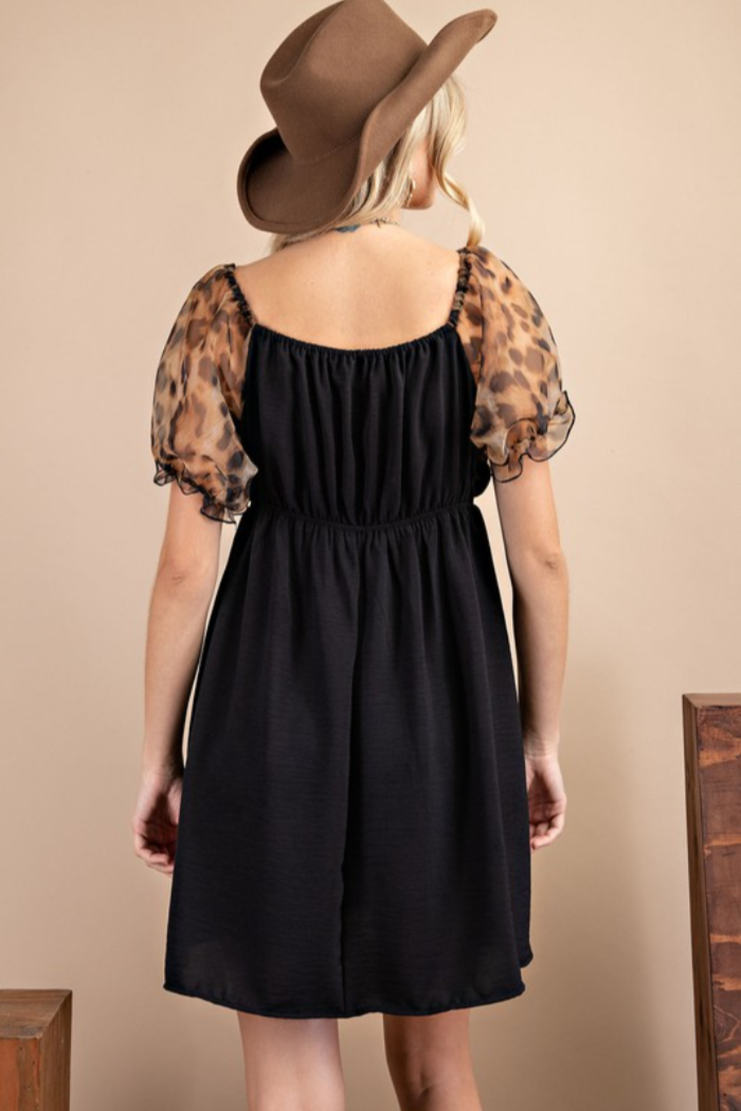 143 Story Leopard Puff Sleeve Dress - Front Full Image
