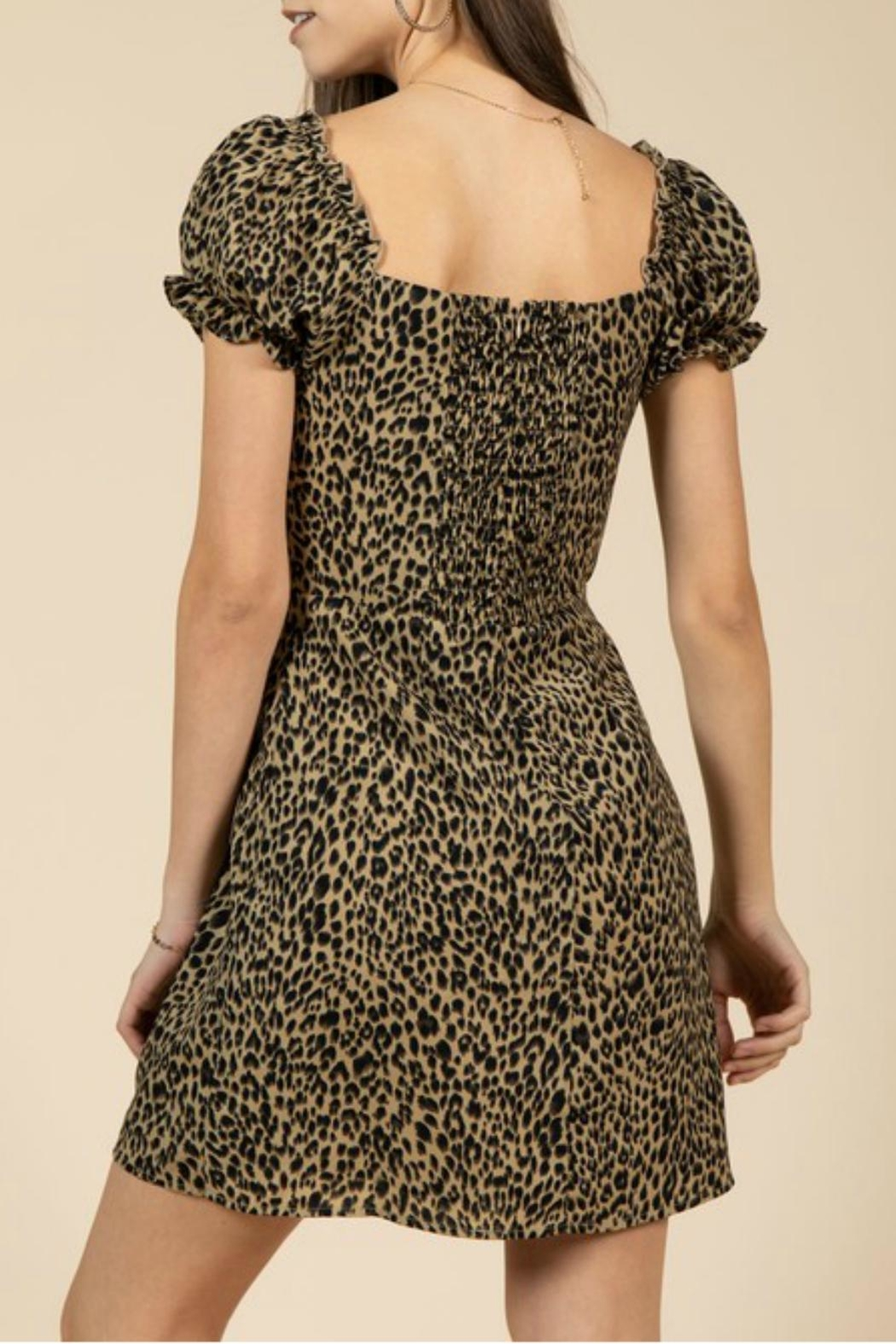 Pretty Little Things Leopard Puff-Sleeve Dress - Front Full Image