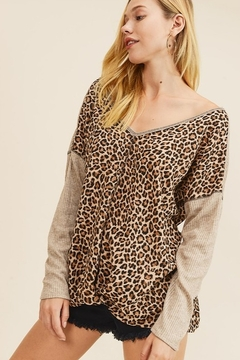 First Love Leopard Rib Contrast Top with Dropped Shoulders - Product List Image