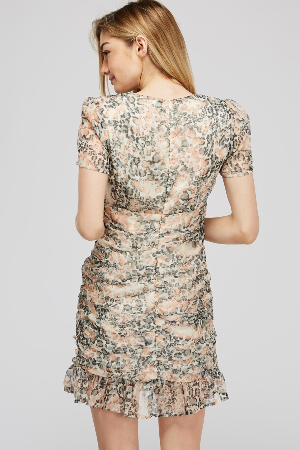 storia Leopard Ruched Dress - Side Cropped Image