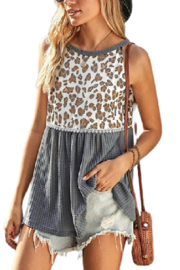 Lyn -Maree's Leopard Ruched Tank - Product Mini Image