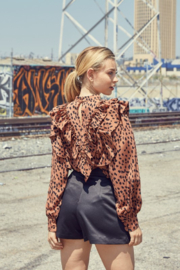 Do + Be  Leopard Ruffle Blouse - Side cropped