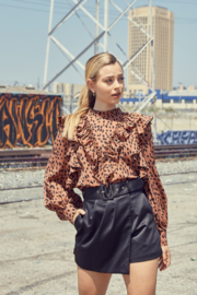 Do + Be  Leopard Ruffle Blouse - Other