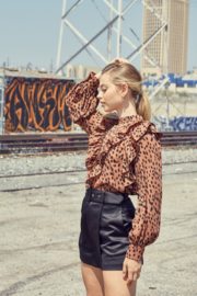 Do + Be  Leopard Ruffle Blouse - Front full body