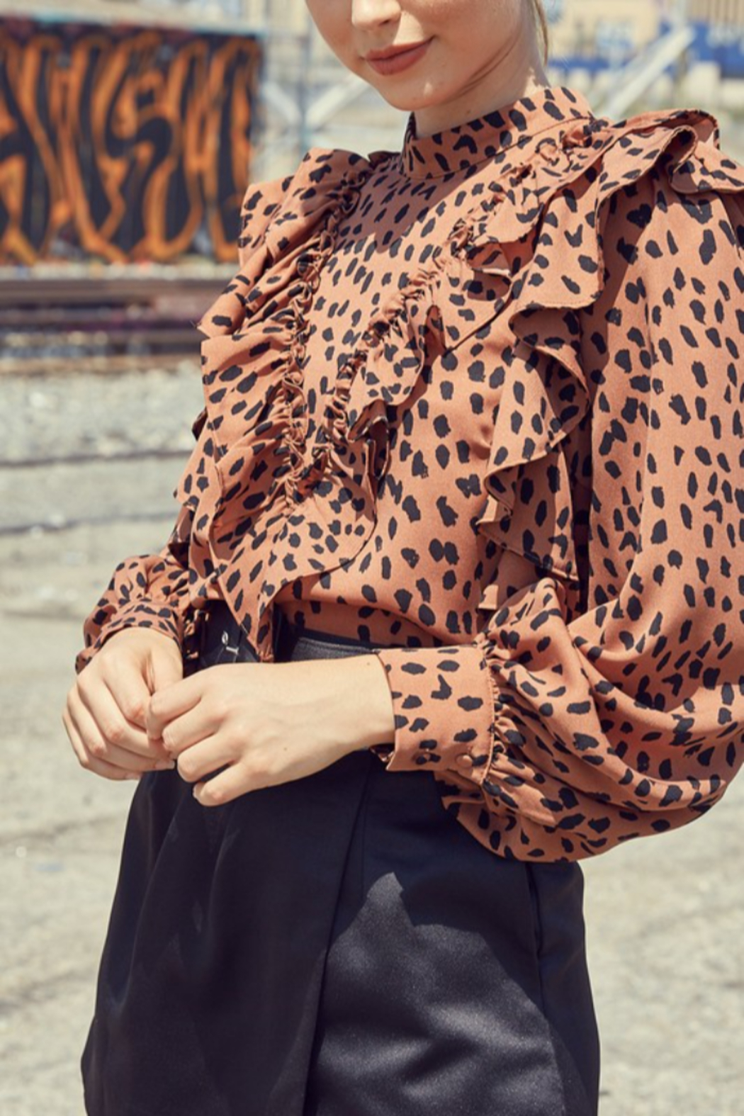 Do + Be  Leopard Ruffle Blouse - Back Cropped Image