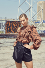 Do + Be  Leopard Ruffle Blouse - Front cropped
