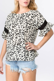On Twelfth Leopard Ruffle Sleeve Top - Product Mini Image