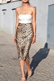 Lala Factory Leopard Satin Midi Skirt - Front cropped