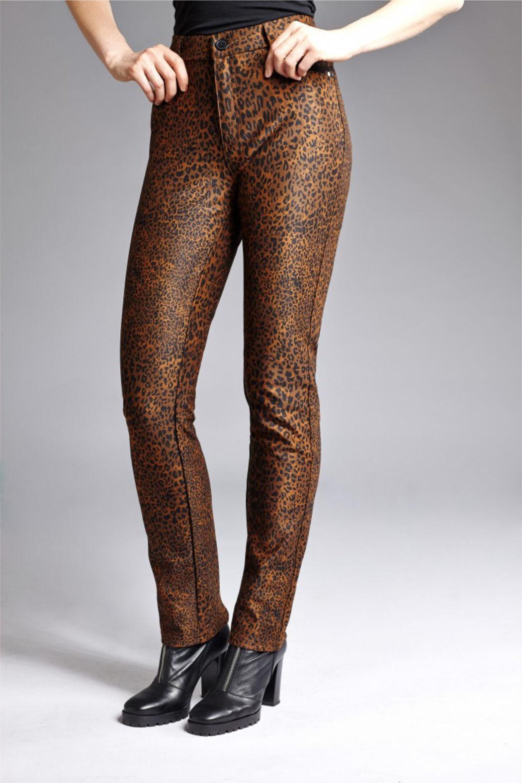 INSIGHT NYC Leopard Scuba Jean Pants - Front Cropped Image