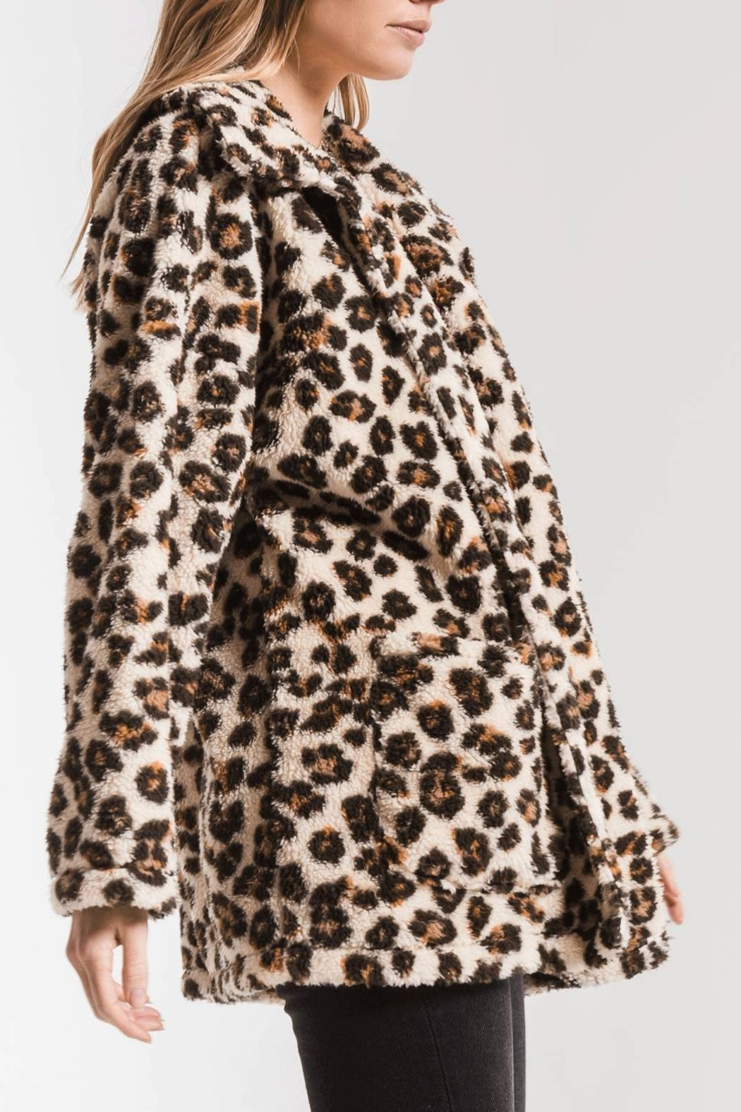 z supply Leopard Sherpa TB Coat - Front Full Image