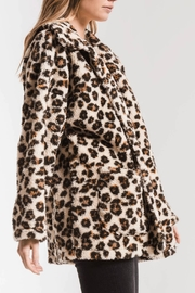 z supply Leopard Sherpa TB Coat - Front full body