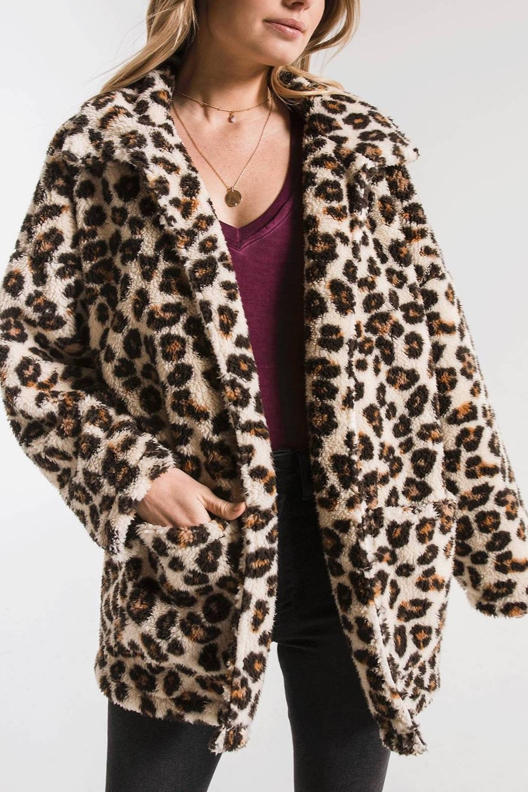 z supply Leopard Sherpa TB Coat - Back Cropped Image