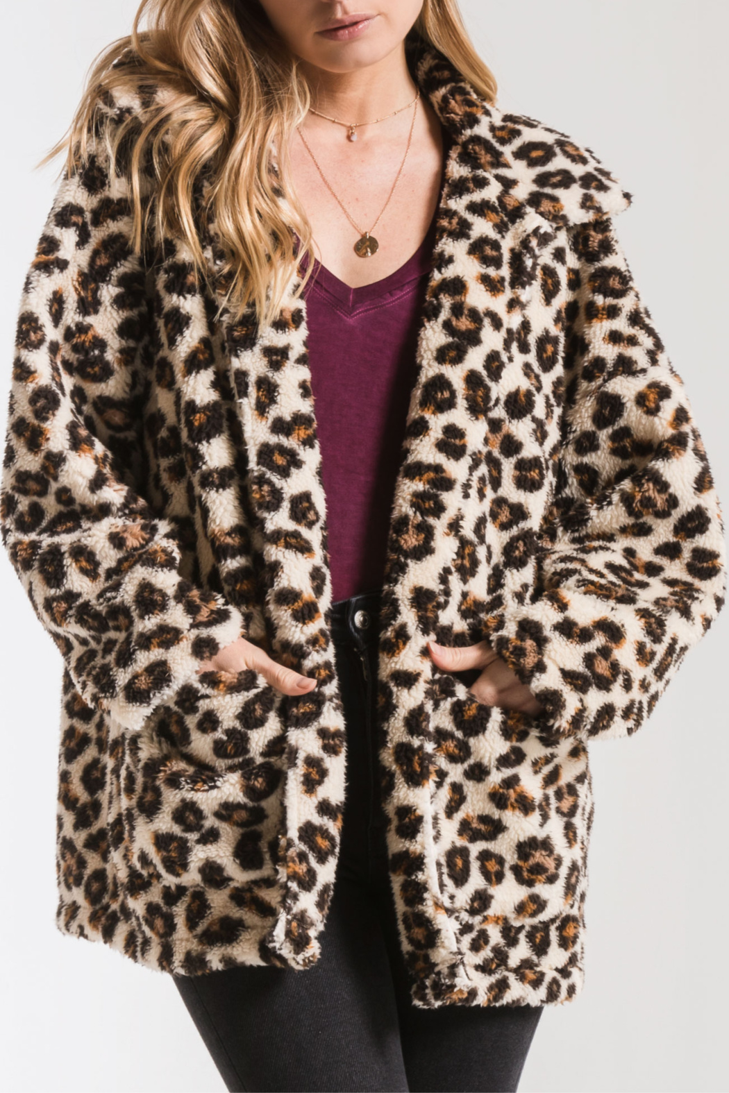 z supply Leopard Sherpa TB Coat - Main Image