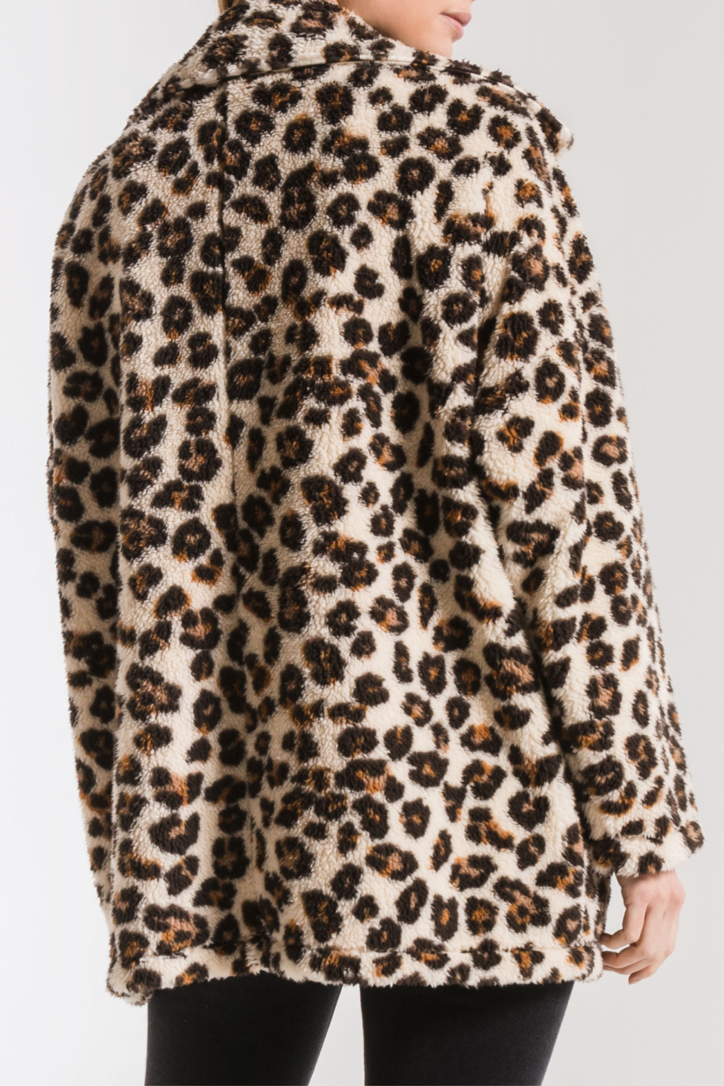 z supply Leopard Sherpa TB Coat - Side Cropped Image