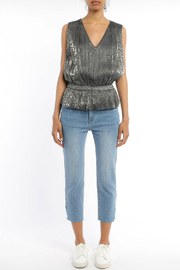 Current Air Leopard Shimmer Pleated Hem Slvls Top - Product Mini Image