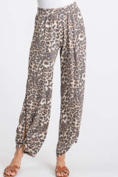 7th Ray Leopard Side Slit Pants - Product List Image