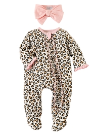 Mud Pie  Leopard Sleeper With Headband - Front cropped
