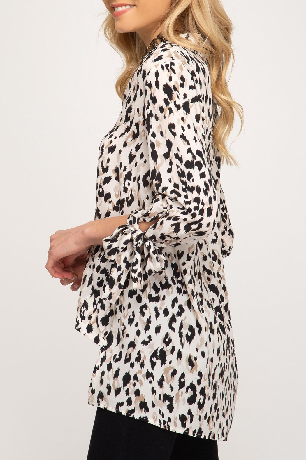 She + Sky Leopard Sleeve-Tie Top - Front Full Image