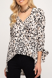 She + Sky Leopard Sleeve-Tie Top - Front cropped