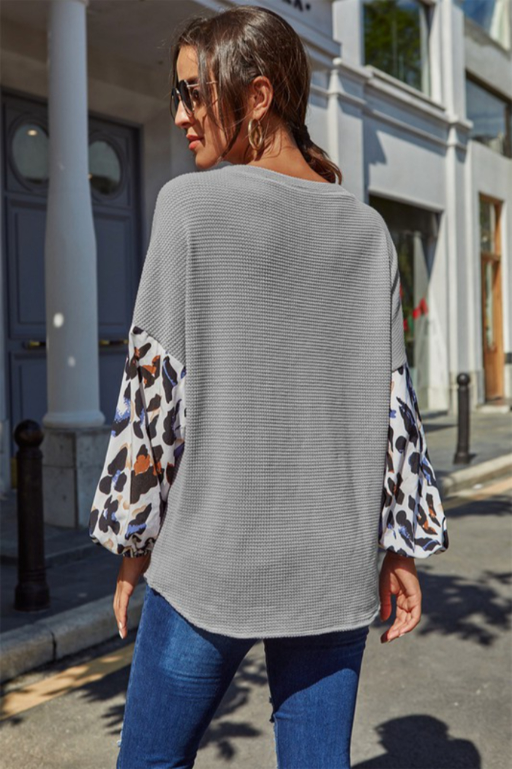 Shewin  Leopard Sleeve Top - Front Full Image